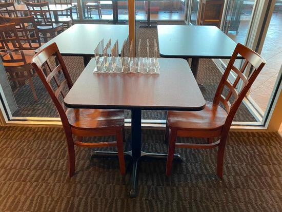 Restaurant Table w/ 2 Wooden Chairs, 29in H, 30in L, 24in D, Solid Wood Ladder Back Chairs
