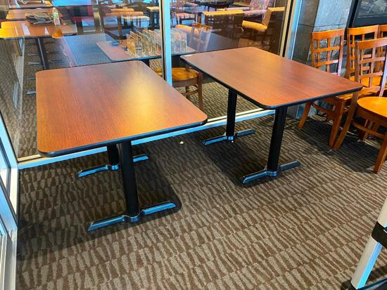 2 Restaurant Tables, Laminate Top, Double Pedestal Base, 48in L, 30in W, 29in H, 2x's$
