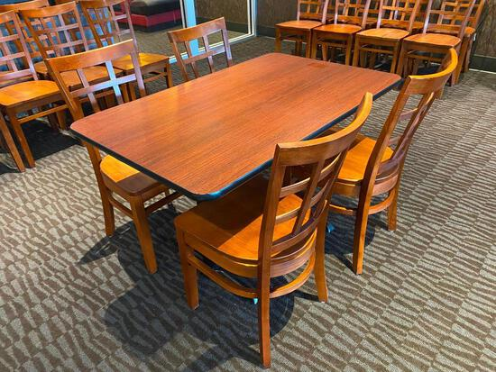 Restaurant Table w/ 4 Wooden Chairs, 48in x 30in x 24in, Double Pedestal, 4 Solid Wood Chairs