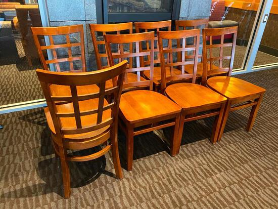 Eight Solid Wood Restaurant Chairs, 8x's $