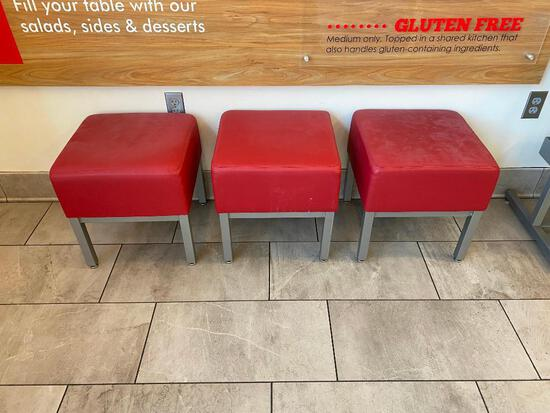 Three Red Stools, 18in H, 16in x 16in Seat, Red Cushion, Metal Frame