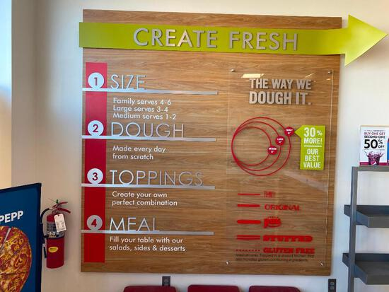 Acrylic and Composit Create Fresh Pizza Display/Signage