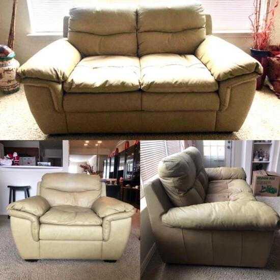 Tan Leather Love Seat and Chair - 2 Pieces, See Pictures