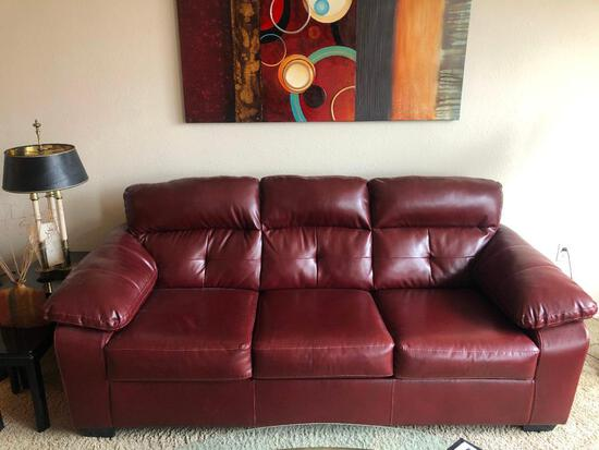 "Leather Burgundy Couch 91"" Long Sofa, Very Clean, VG Condition"