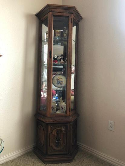 Glass and Wood Curio Cabinet