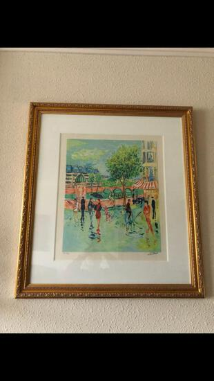 Framed Under Glass Numbered Watercolor Print 85/250