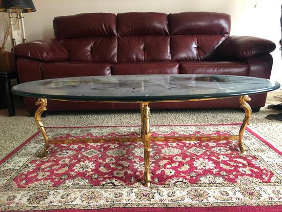 Glass Top Coffee Table with Brass Seahorse Motif Frame-Very Heavy