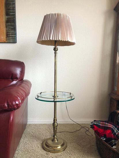 "Stiffel Lamp 57"" Tall w/ Glass and Brass Table Top Built-In"