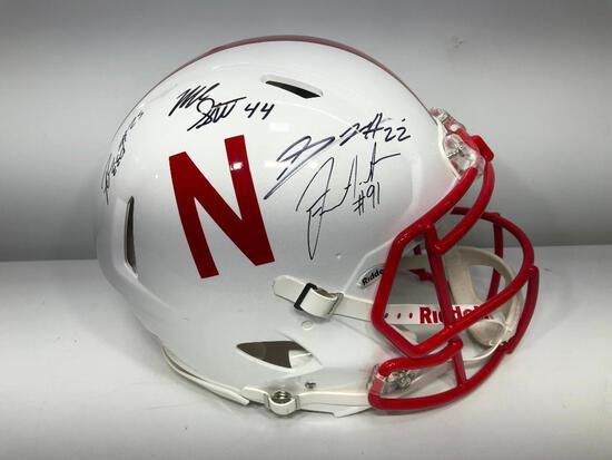 "Devine Ozigbo, Stanley Morgan Jr. Signed Nebraska ""Authentic"" Helmet"
