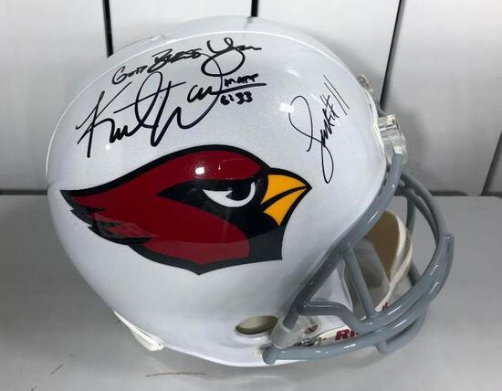 Full Size Autographed Authentic Helmet KURT WARNER & LARRY FITZGERALD JSA RARE!!!