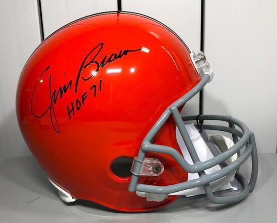 Full Size Autographed Authentic Helmet JIM BROWN JSA Authentic BROWNS