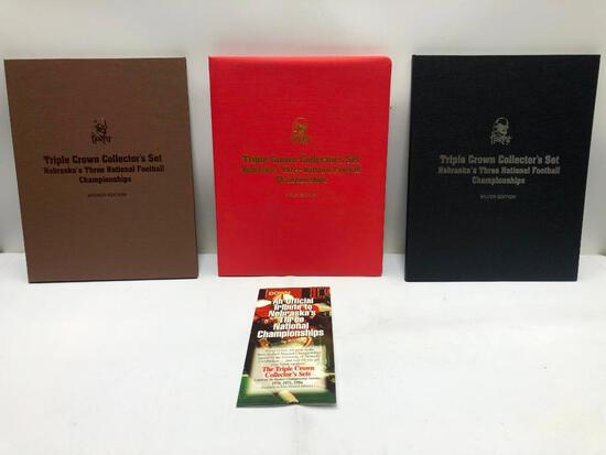 Gold, Silver and Bronze Triple Crown Collector's Sets W/Signatures of Bob Devaney Tom Osborne +