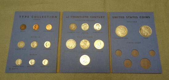 20th Century Type Collection Folder, Silver Dollars, Old Coins, Nearly Complete Album