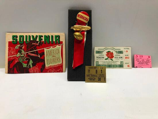 1941 Rose Bowl Tickets Set, Button/Ribbon, and Photo Booklet