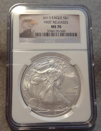 2013 Silver American Eagle NGS MS70 Silver Dollar