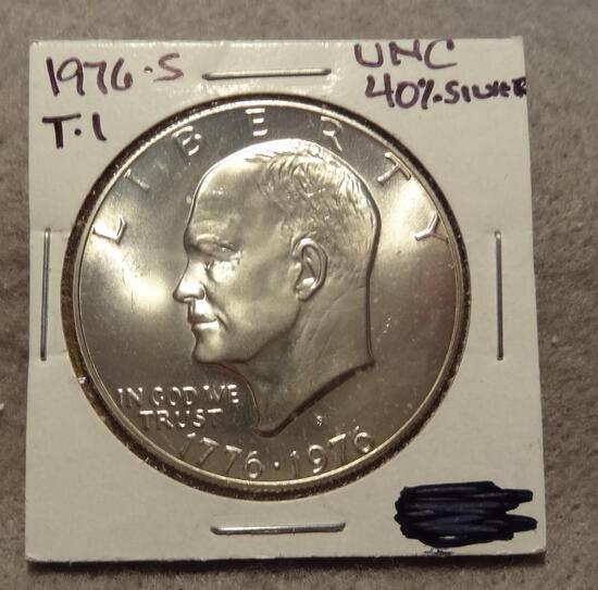 1976 S Type 1 IKE Eisenhower Silver Dollar