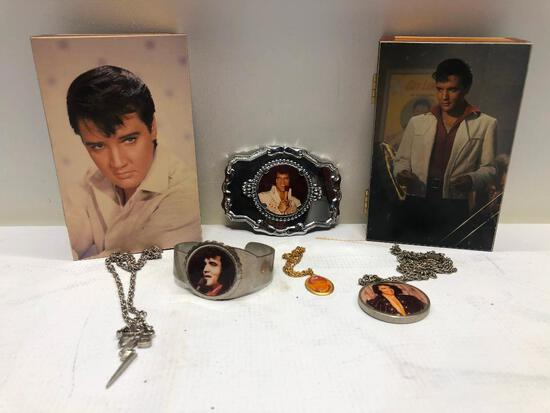 (6) Two Vintage Elvis Jewelry Boxes, Elvis Belt Buckle, Elvis Bracelet, Two Elvis Necklaces