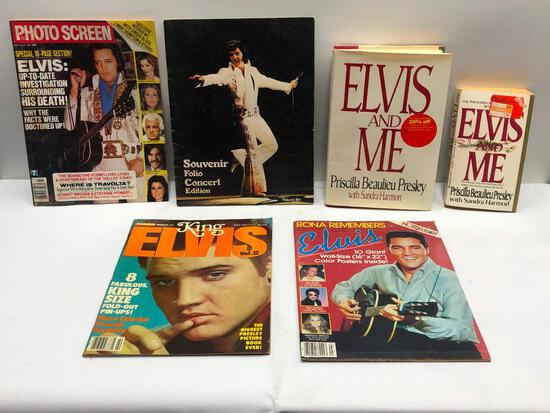 (6) Assorted Elvis Books and Memorabilia See Photo for Details
