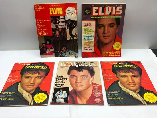 (5) Five Assorted Vintage Elvis Magazines, See Photo for Details