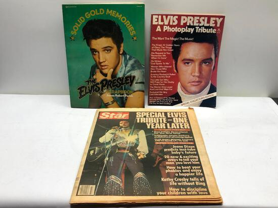 (3) Antique Elvis Magazine, Vintage Elvis Newspaper, Antique Elvis Scrapbook,