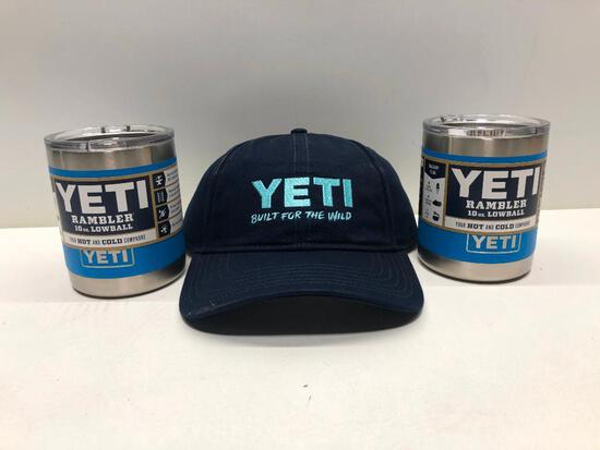 Lot of 3- Yeti Navy Hat, 2 Tahoe Blue 10oz Lowballs with Lids