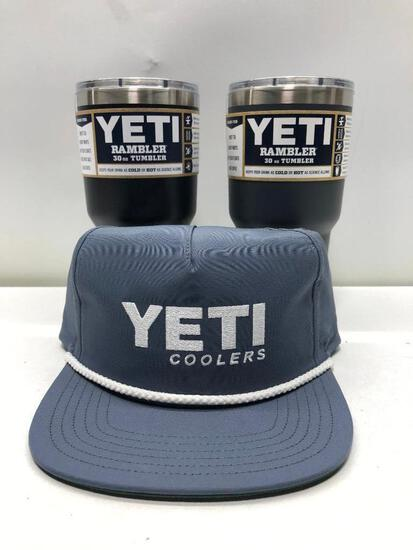 Lot of 3- Gray Yeti Hat, 2 Charcoal Yeti 30oz Tumblers with Mag Slide Lids MSRP $90.00