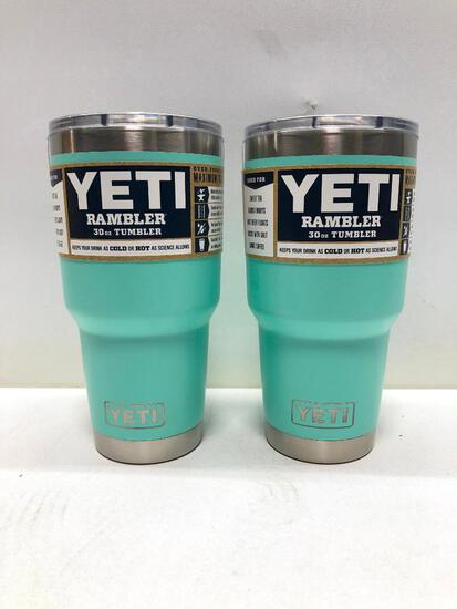 Lot of 2- 2 Seafoam Yeti 30oz Tumblers with Mag Slide Lids MSRP $70.00