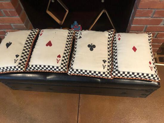 Card and Poker Pillows, Aces of Each Suit, Very Nice