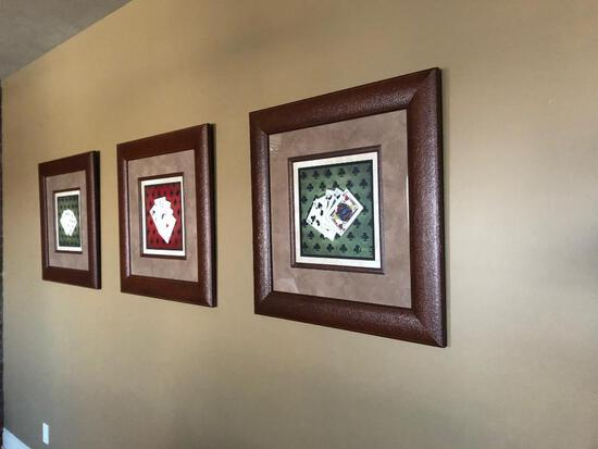 Three Leather Framed Poker Pictures, Card Hand Themed, Very Nice