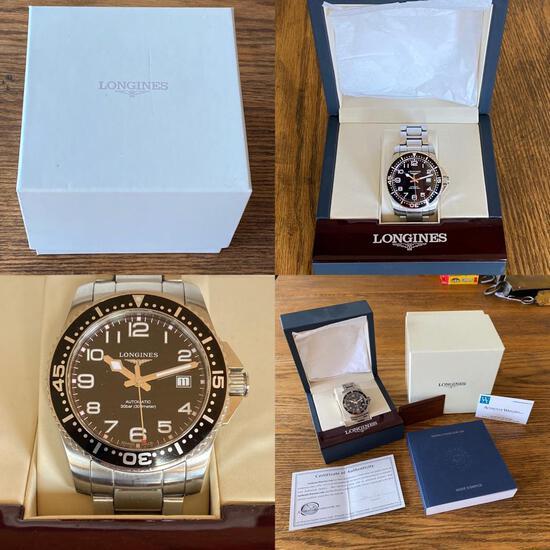 Longines Hydroconquest Automatic 41 Black - L3.695.4.53.6 Men's Wristwatch w/ SS Band, Complete