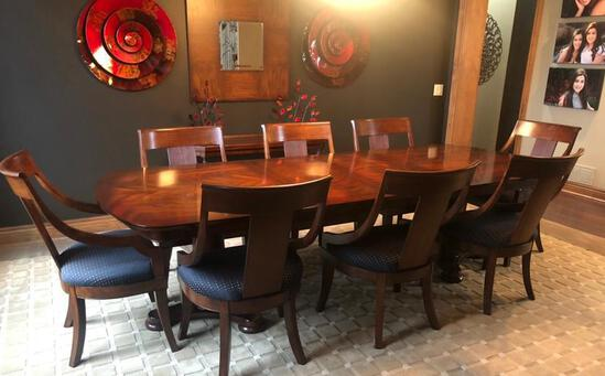 Exclusive Hardwood Dining Room Table & Chairs w/ 2 Leaves, 45in Wide, 9 Feet Long, Leaves 19inx45in