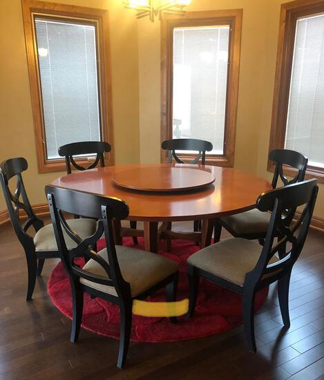 Unique Hardwood Dining Table & Six Chairs, Table has Rotating Center for Serving Guest, 67in Across