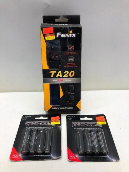 (3) Fenix TA20 225 Lumens MSRP: $46.99, Two Packs of Tac-Con AA Batteries MSRP: $2.99
