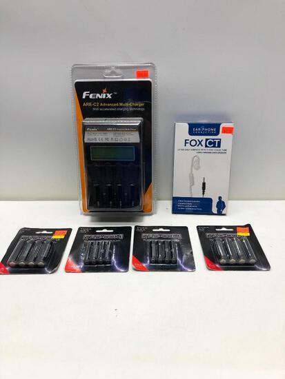 (5) Two Packs of Tac-Com AA Batteries MSRP: $2.99, Tac-Com AAA Batteries, EarPhone