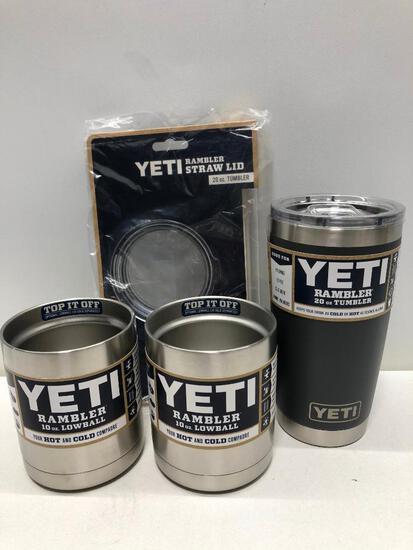 (4) Two Yeti 10oz Lowball Stainless Steel, Yeti Rambler 20oz Tumbler Charcoal w/ Magslide