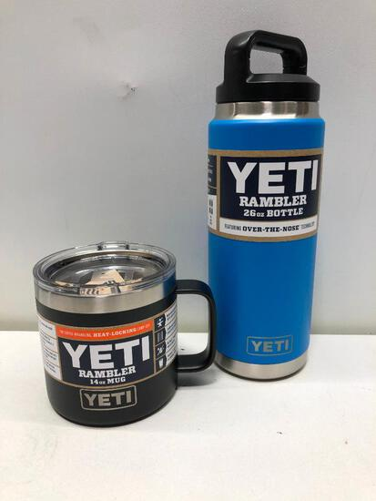 (2) Yeti Rambler 26oz Bottle Tahoe Blue, Yeti Rambler 14oz Mug Black