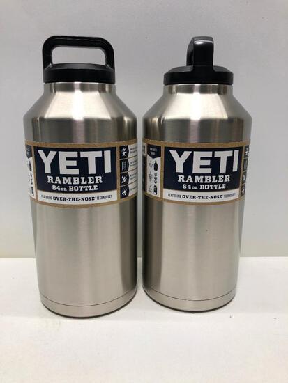 (2) Two Yeti Rambler 64oz Bottles Stainless Steel