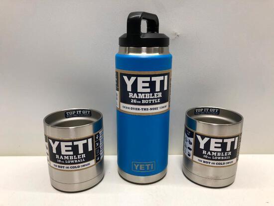 (3) Two Yeti Rambler 10oz Lowball Stainless Steel, Yeti Rambler 26oz Bottle Tahoe Blue