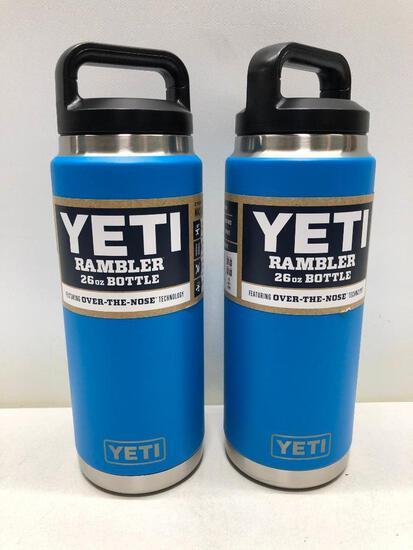 (2) Two Yeti Rambler 26oz Bottles Tahoe Blue