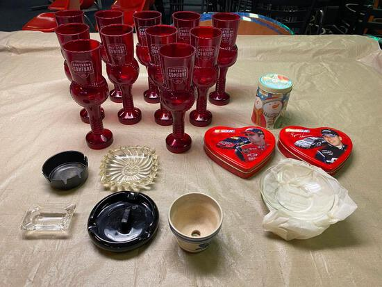 12 Plastic Southern Comfort Cocktail glasses, ash trays, misc.