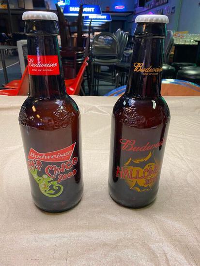 (2) Holiday Budweiser King Bottles; Cinco de Mayo, Halloween