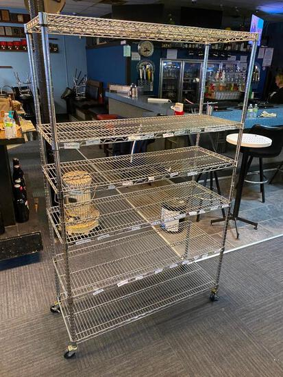 NSF Stainless Steel Rolling Shelving Rack / Unit 77in x 40in x 18in