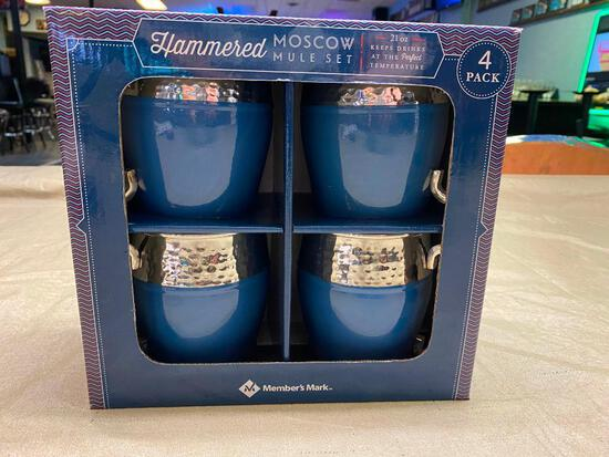 4 Pack Hammered Moscow Mule Set, NEW