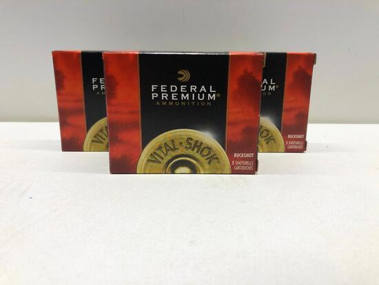 Lot Of 5 Boxes 20 GA 3 Inch Buckshot Federal Premium Ammo - 25 Rounds