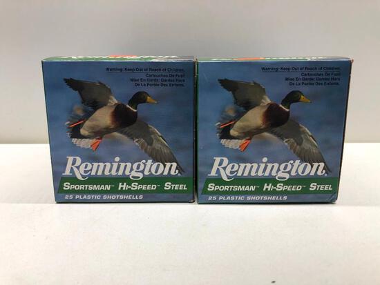 Lot Of 4 12 Gauge 3 Inch Remington Sportsman Hi-Speed Steel Plastic ShotShells - 100 Rounds
