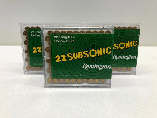Lot Of 3 Boxes of Remington 22 Long Rifle Hollow Point 22 Subsonic Ammo - 300 Rounds