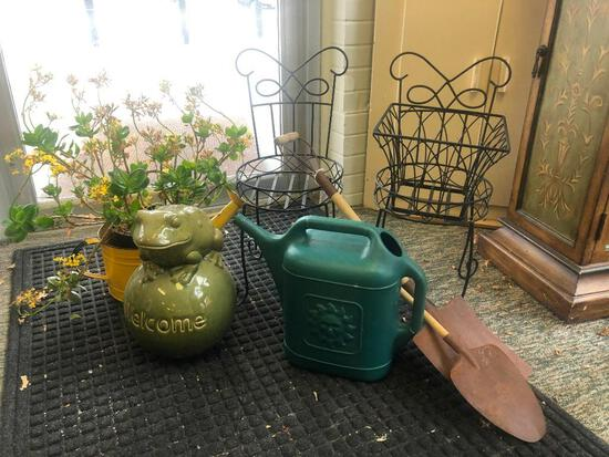 (8) Three Assorted Planter Holders, Two Antique Style Mini Shovels, Watering Can, Watering Can