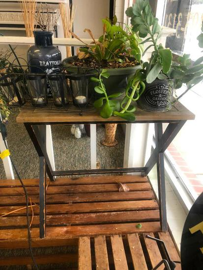 (5) Wooden Table/Stand, Two Plants in Pots See Photos for Details, Black Candelabra, Blue Decor Vase
