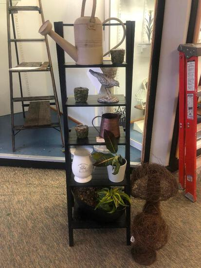 (12) Three Small Moss Pots, Two Metal Watering Cans, Robin Statue, Pitcher, Two Plants in Pots, Two
