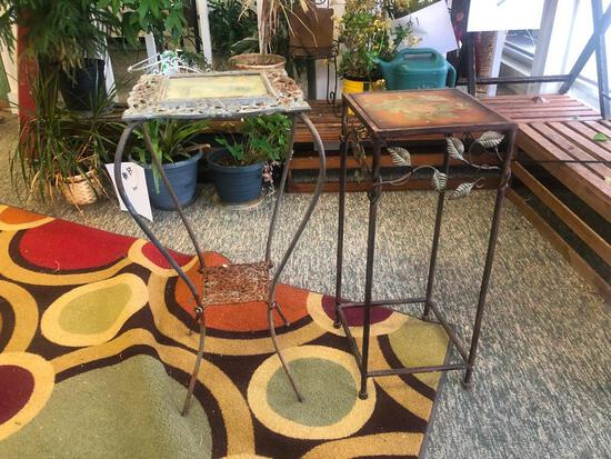 (2) Two Metal Plant Stands See Photos for Details